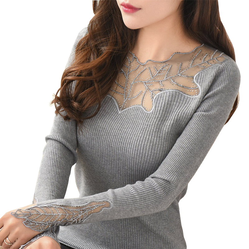 Women Pullover Cashmere Sexy Lace Pullover Sweaters Fashion Patchwork Hollow Out Ruffled Collar Knitted Tops Pull Femme