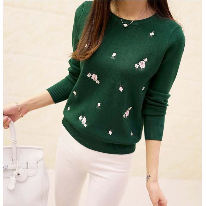 Women Embroidery Knitted Winter Women O-Neck Sweater
