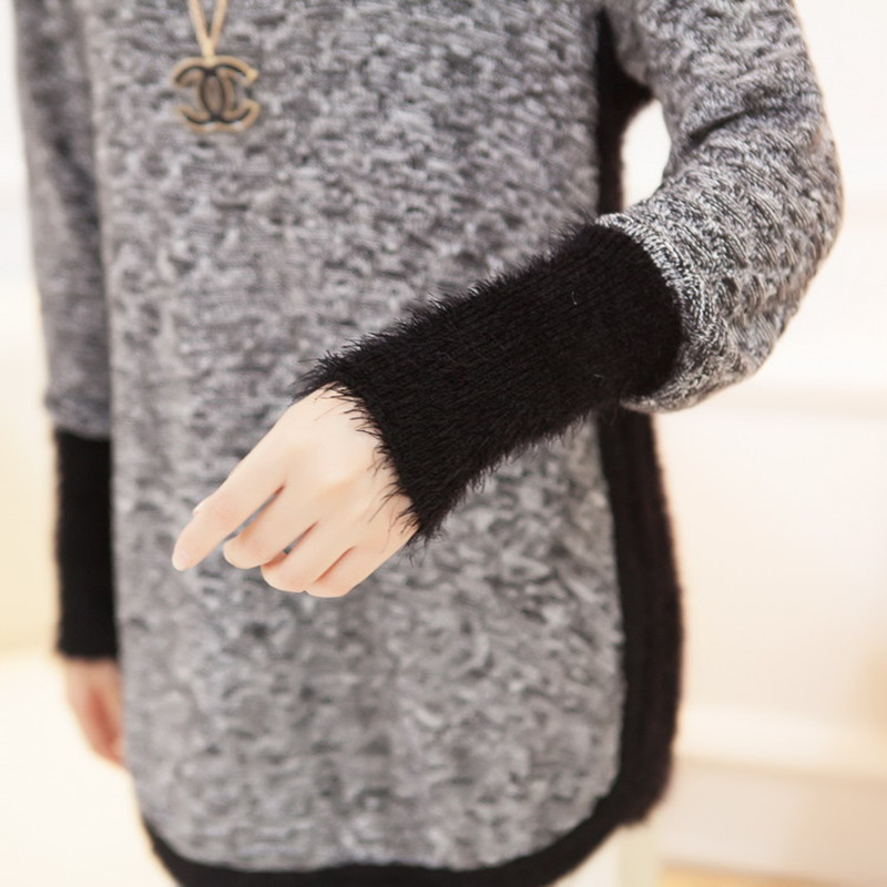 New Fashion Brand New Autumn/Winter Female Mohair Loose Sweater  Knitted Long Sleeve O-neck Pullovers Hot Sale