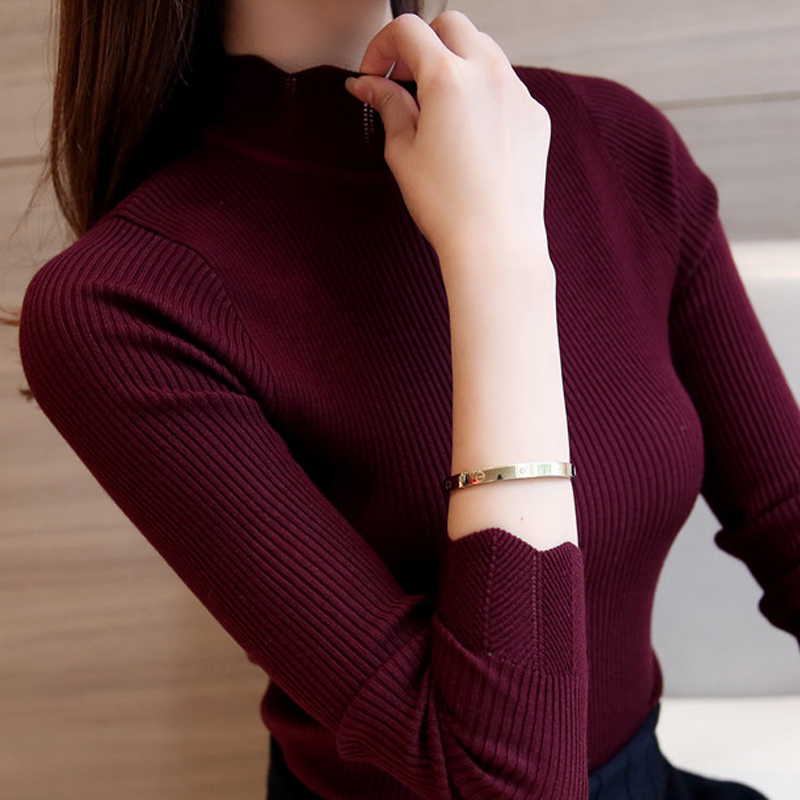 Fashion Women Sweaters and Pullovers Sueter Mujer Ruffled Sleeve Turtleneck Solid Slim Sexy Elastic Women Tops