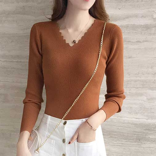 Black White Autumn Winter Sweater Women solid Knitted Sweater Pullovers long sleeve tops Wave Cut V-neck Basic office