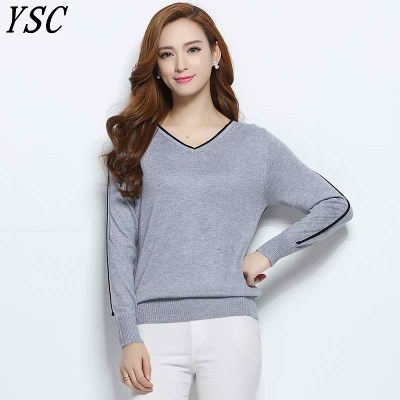 Women Cashmere Blend Sweater V-Neck Pullovers Long Sleeve Jumpers Womens Knitted Sweaters With Color Edge