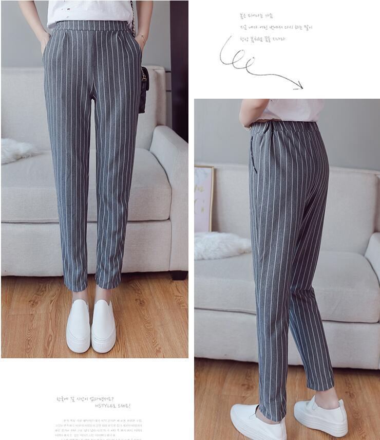 Qooth England Style Striped Pants Women's Elastic Waist Strip Ankle-Length Pencil Pants Spring New Arrival Trousers