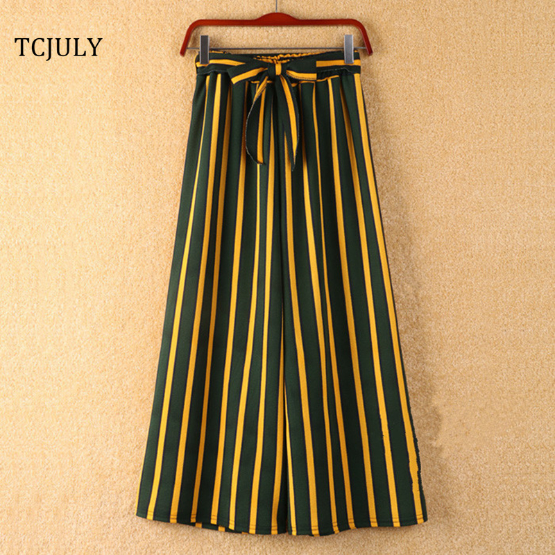 Striped Bohemian Style Wide Leg Pants Bow Tie Decorated Ankle Length Trousers Women Loose Casual Female Pants