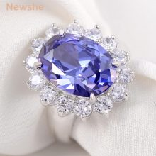 Newshe 6 Carats Created Blue Zoisite-Stone 925 Sterling Silver Wedding Ring Fashion Jewelry Accessories