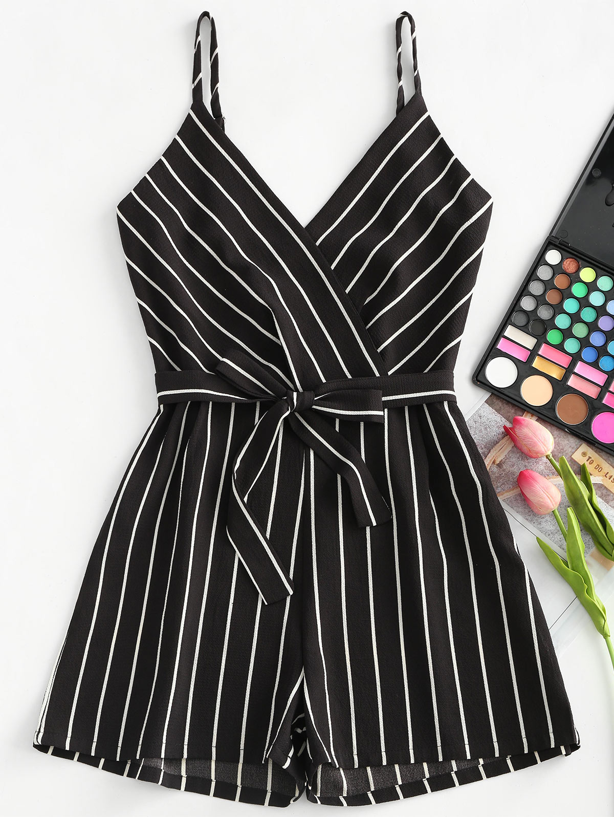 ZAN.STYLE Summer Stripe Spaghetti Strap Belt Women Jumpsuit Casual Halter Bow Knot Tied Beach Romper Zip Up Overalls For Women