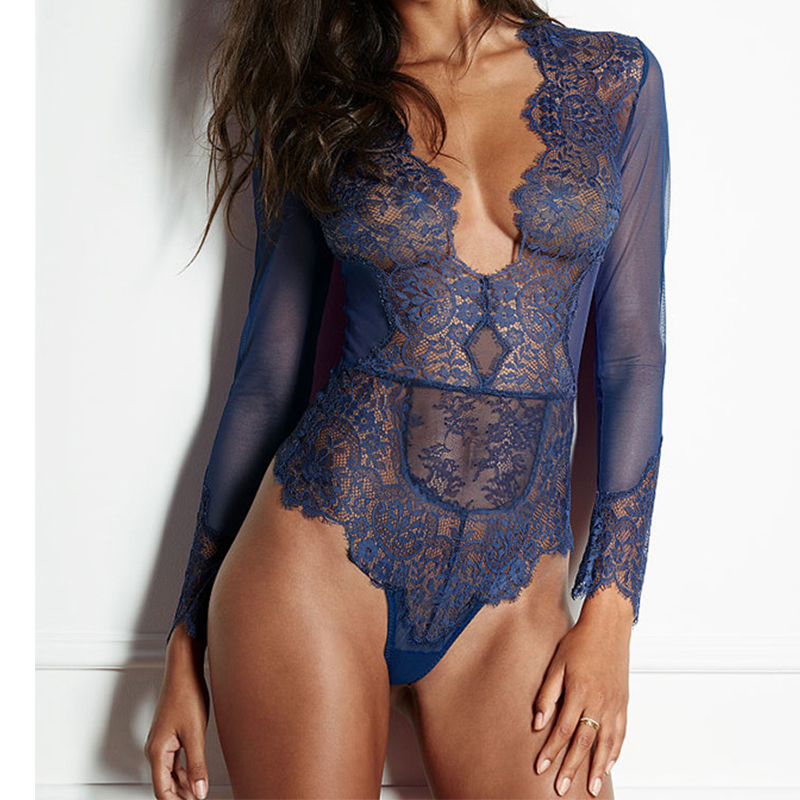 Sheer mesh long sleeve bodysuit women sexy deep v neck sexy romper jumpsuits plus size body feminino lace bodysuit