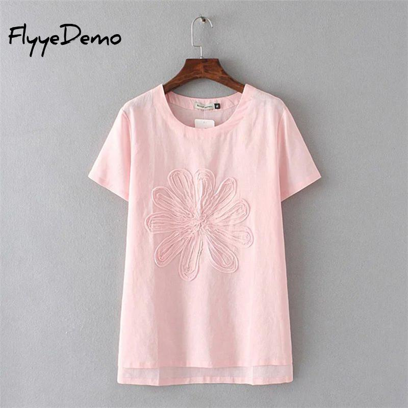 New Fashion Summer Brand Tee Women Tops High Quality Cotton Linen 3D Floral Embroidery Short Sleeve Ladies Luxury T Shirt
