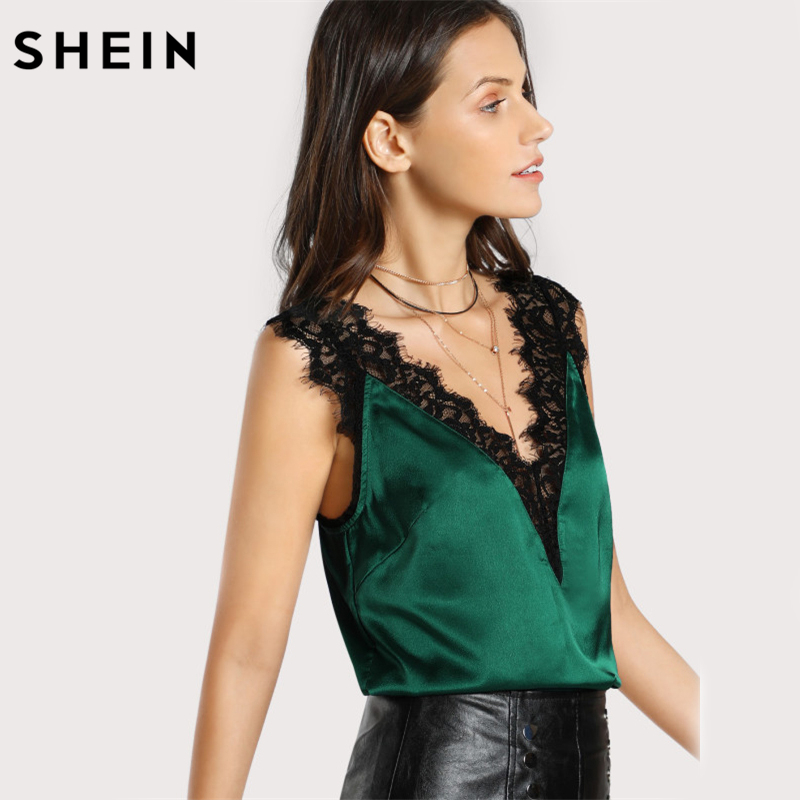 SHEIN Lace Trim Double V Neck Satin Silk Top Sexy Tops for Women Fitness Tank Top Green Elegant Women's Sleeveless Tops