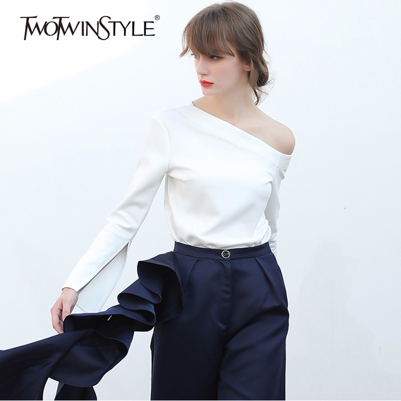 TWOTWINSTYLE Irregular T Shirt For Women Off Shoulder Flare Sleeve Basic Pullover Tops Female Spring Fashion Large Size Clothing