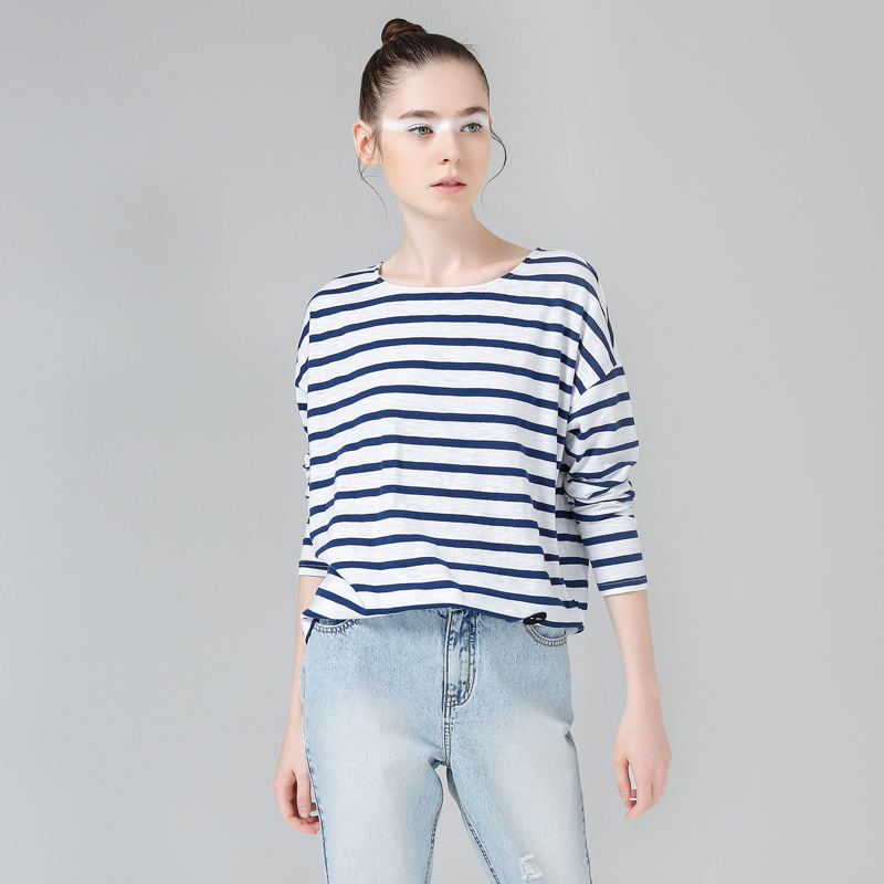 Toyouth T-Shirts Spring Women T-Shirt Stripe Printed Loose Base Casual Long Sleeve O-Neck Tees Tops