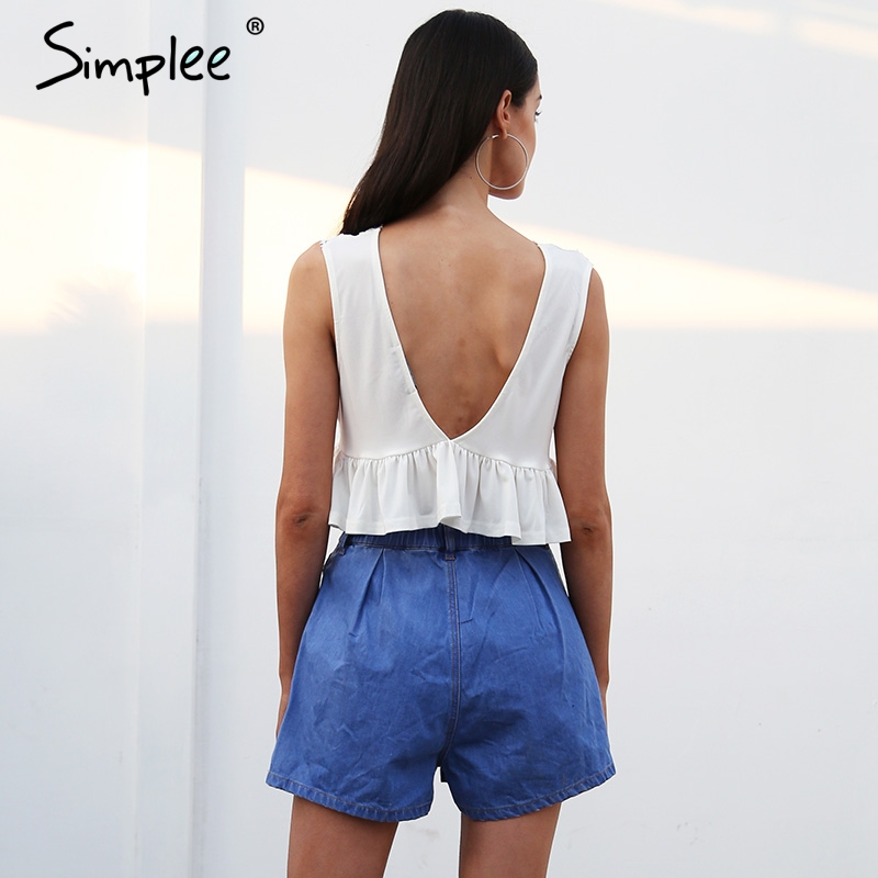 Simplee Sexy v neck chiffon camisole tank women Ruffle backless short shirt tee Summer casual streetwear lace crop top