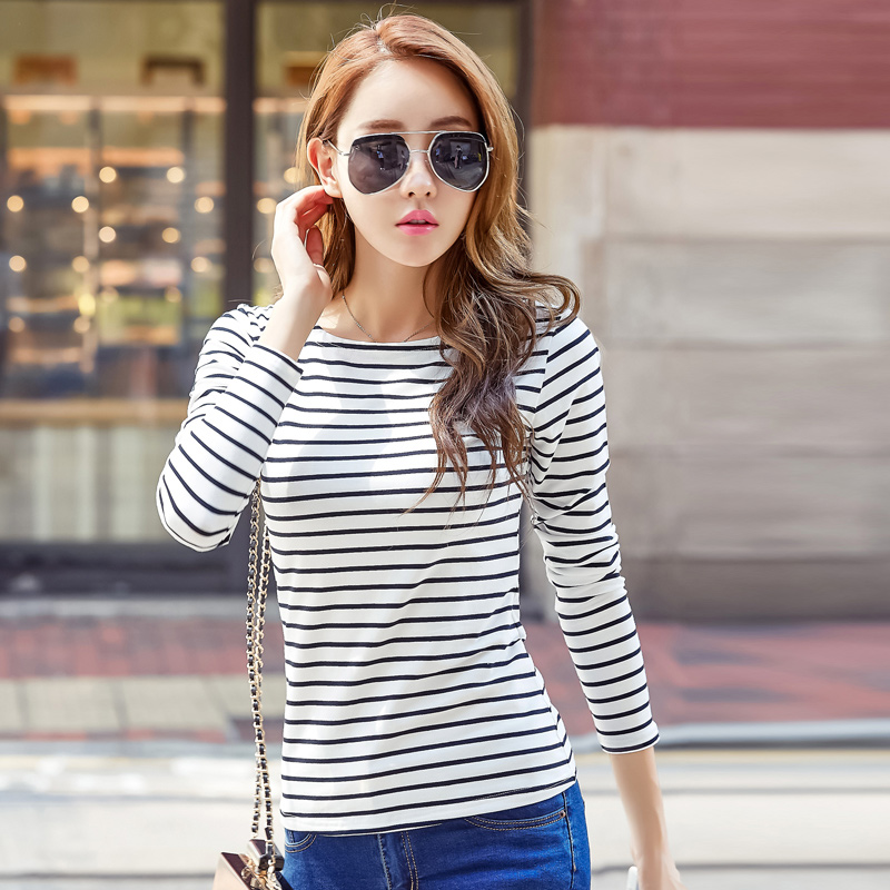 VOLOCEAN Famous Brand Tshirt Autumn Winter T-shirts For Women Classic Stirped Cotton T Shirt Woman Plus Size Female T-shirt