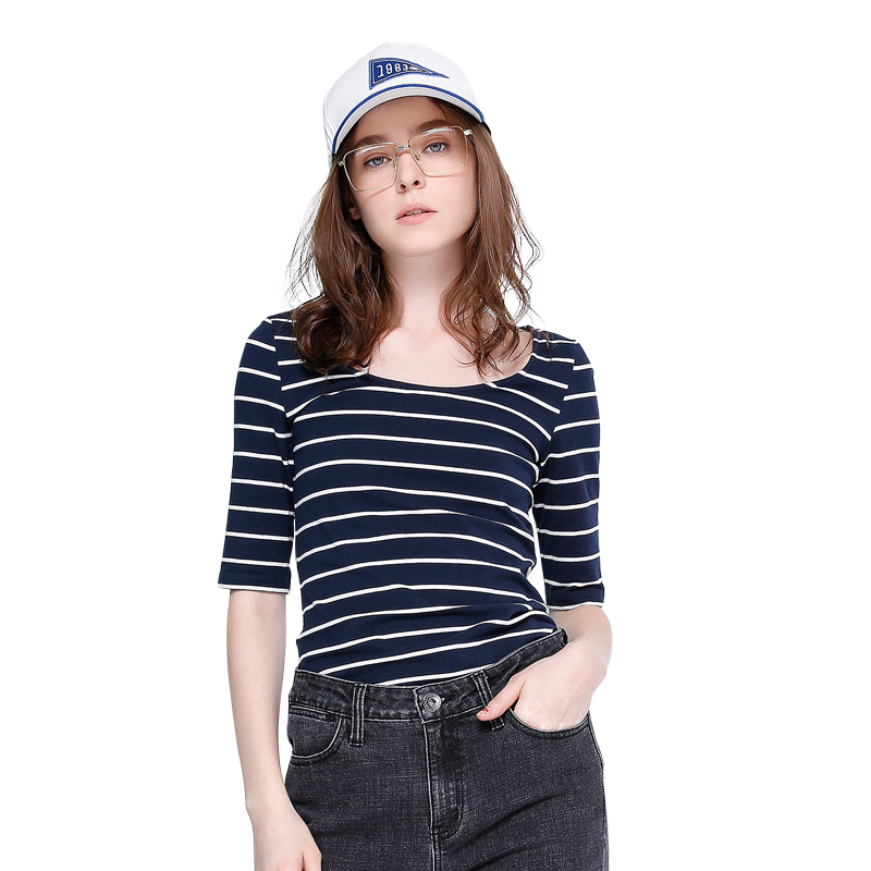 Toyouth Slim Striped Half Sleeves Women T-Shirts New Arrivals O Neck Casual T Shirt Fashion Spring Summer Tee Shirt Femme