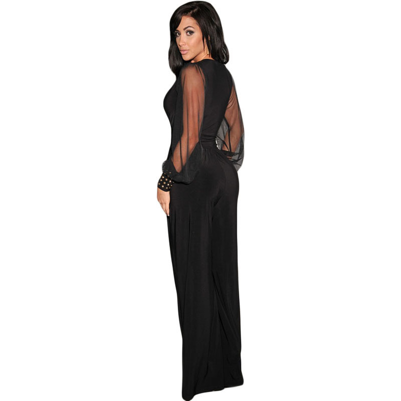 Zkess Women Fashion Sexy Clubwear Bodysuit Black Embellished Cuffs Long Mesh Sleeves Jumpsuit Hot Sale Casual Clothes