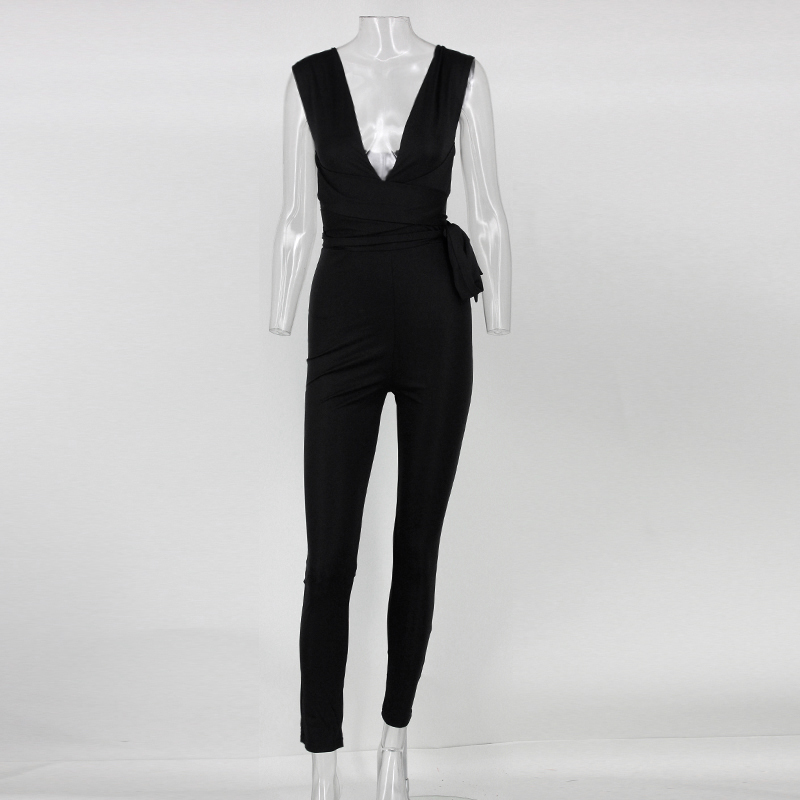 Women Bodysuit Rompers With  Belt Club Wear  Rompers Womens Jumpsuit  Sexy Deep V neck Full Length Bodycon Jumpsu