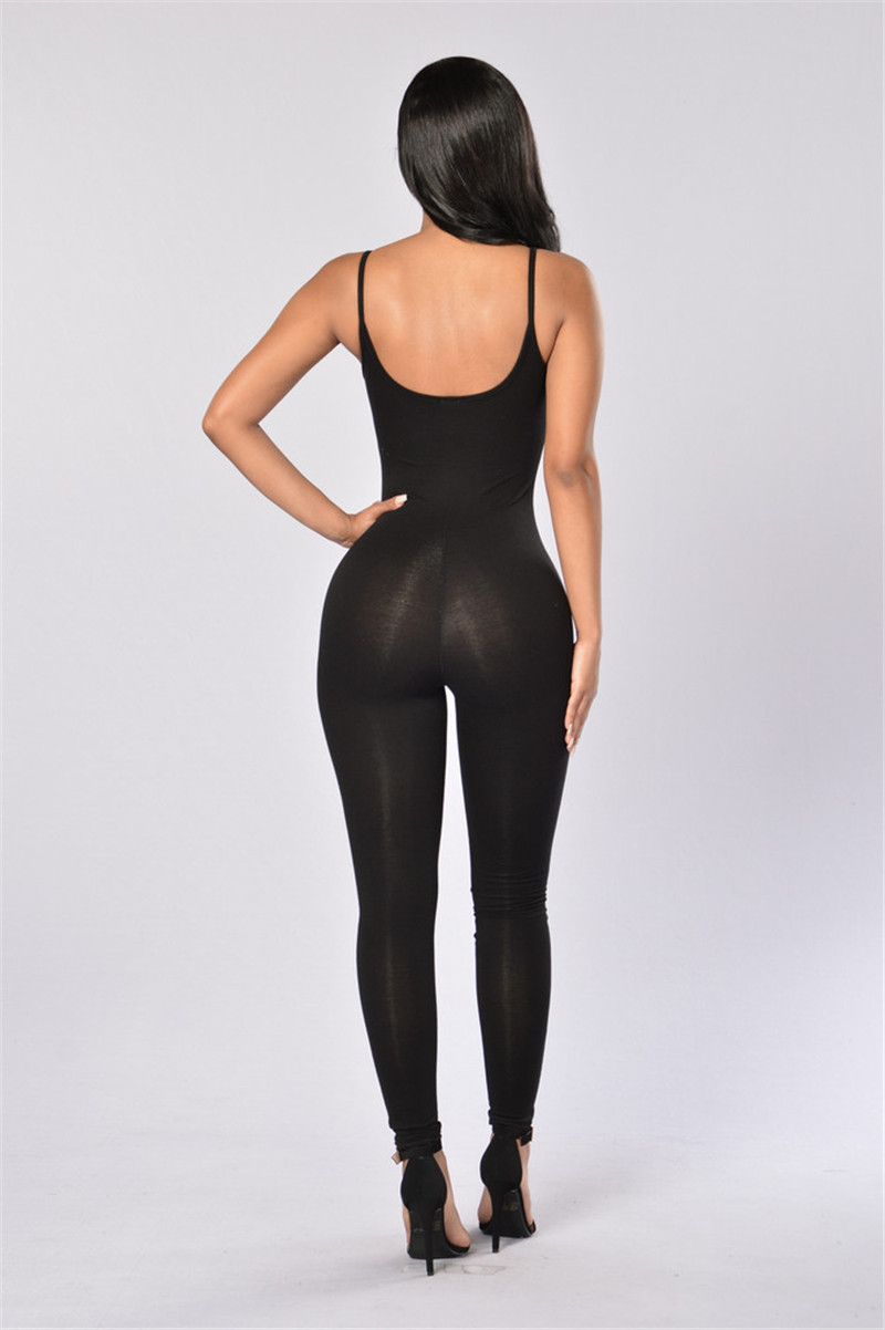 One Piece Jumpsuit Womens Romper Sexy Female Casual Backless Straps Slim Bodycon Long Jumpsuits Overalls Macacao Feminino