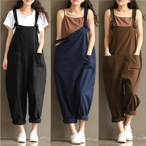 New Fashion Womens Strap Loose Jumpsuit Casual Dungaree Harem Overall Stylish Womens Loose Long Jumpsuits