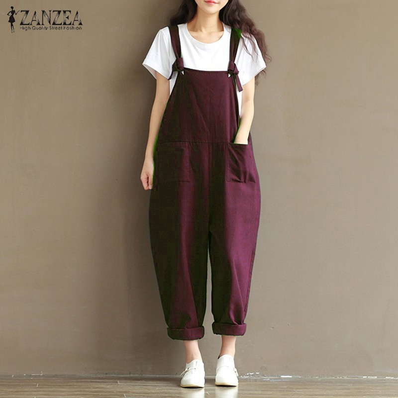 ZANZEA Rompers Womens Jumpsuits Vintage Sleeveless Backless Casual Loose Solid Overalls Strapless Paysuits