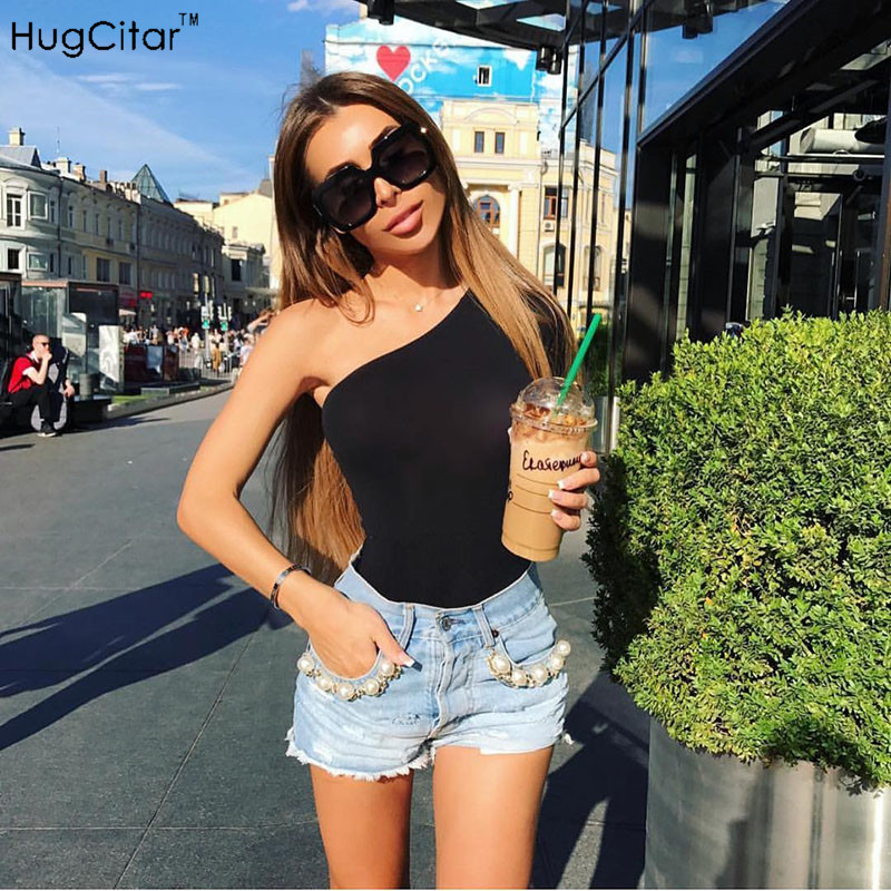 Hugcitar cotton one shoulder slope neckline bodysuit single long sleeve autumn Women sexy black solid swimsuit  female