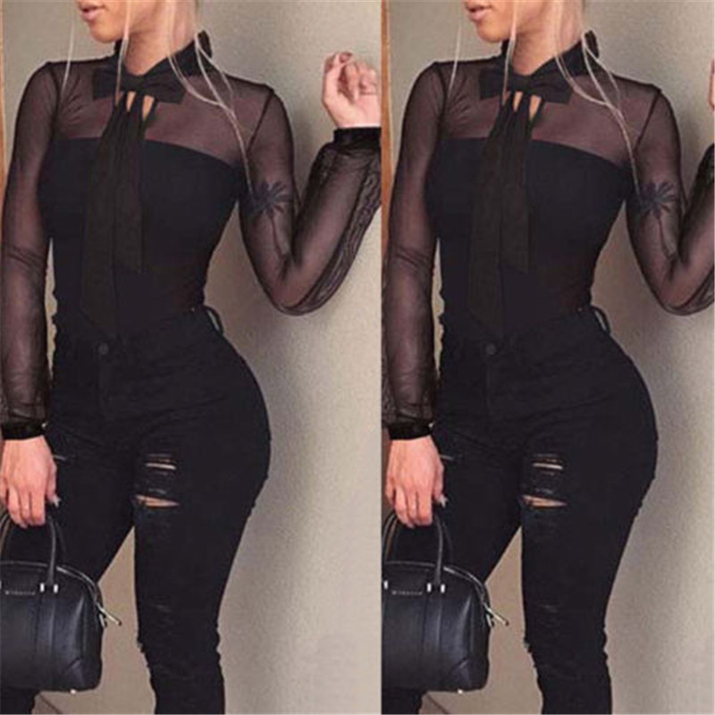 Summer Bodysuit Women Sexy Bow Black Mock Neck Patchwork Long Sleeve Back Ladies Lace Mesh Bodysuit Transparent Tops
