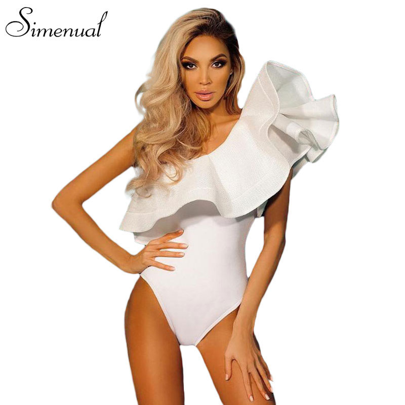 One shoulder ruffles fitness bodysuit women clothing fashion sexy hot slim bodycon jumpsuits solid ladies bodysuits rompers