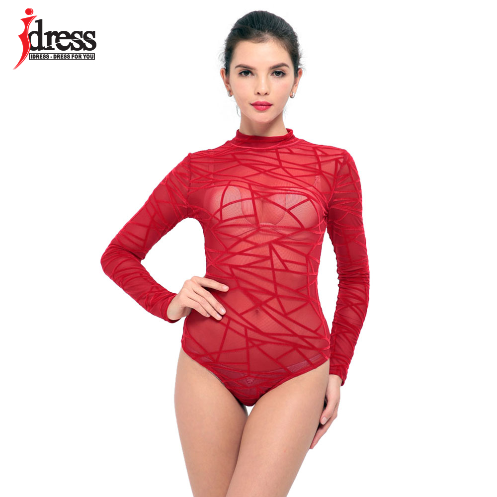 IDress Black Red Blue Ladies Bodysuit Top Woman Long Sleeve Rompers Bodysuit Macacao Body Feminino Lace Romper Women