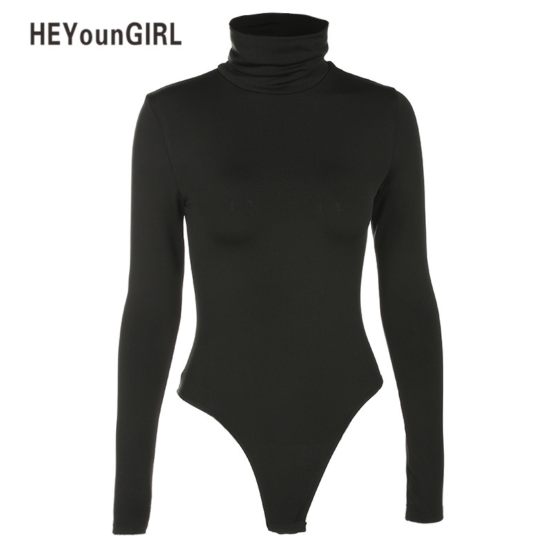 Women Bodysuits Black Turtleneck Sexy Jumpsuits Long Sleeve Body Suit Bodycon Sheath Playsuit Bodysuit Elastic Party Heyoungirl