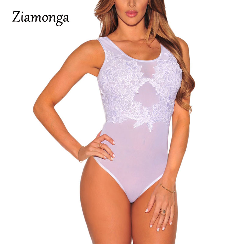 Ziamonga New Sexy Mesh Bodysuit Top Lace Flower Embroidery Body Top Women Ladies Sheer Bodysuit Plus Size 6 Colors M L XL