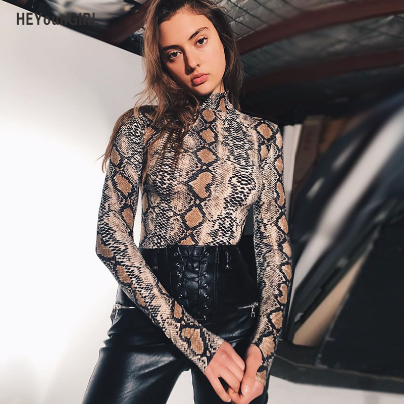 HeyounGIRL Winter Autumn Women Bodysuit Sexy Turtleneck Body Suits Long Sleeve Skinny Print Snake Casual Print Bodycon Playsuit