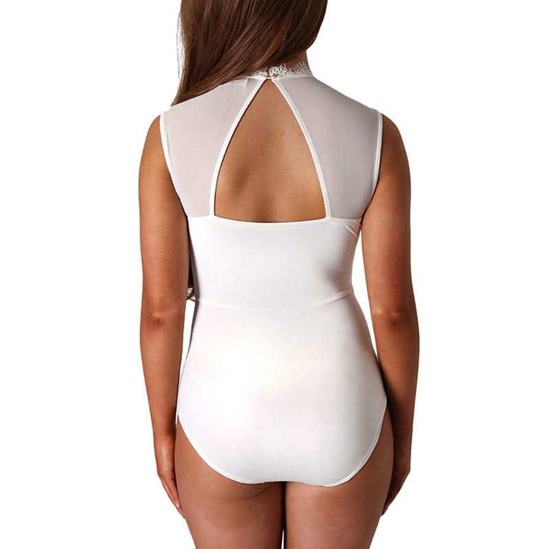 O neck high quality plus size body dentelle hollow out bodysuit women manga larga bodycon mini playsuits and jumpsuits