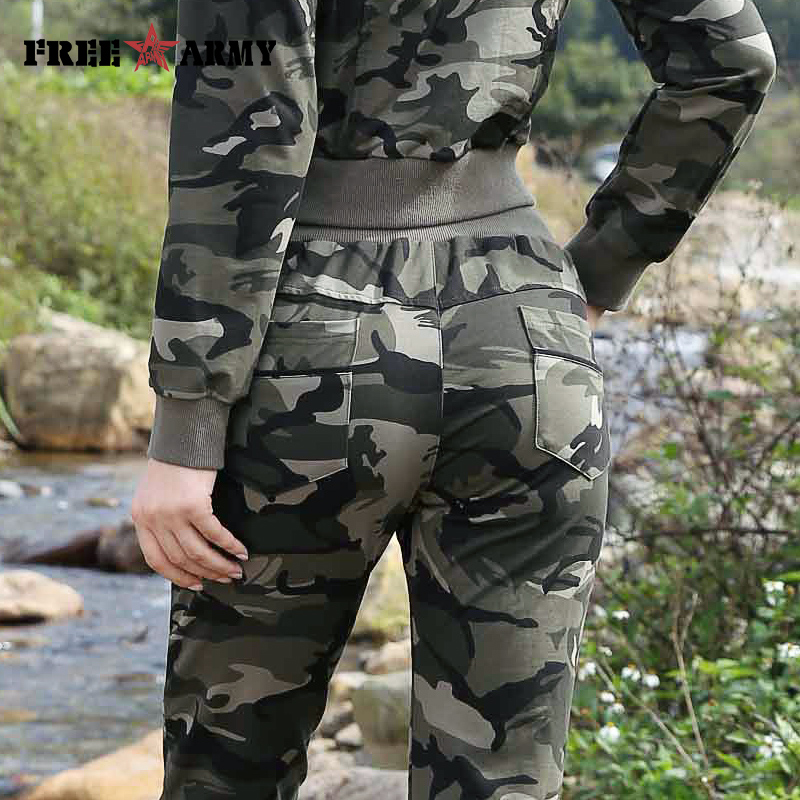 FREEARMY Brand Women's Sets Camouflage 2 Piece Sweat Suit Set Pants+Short Jacket Slim Women's Clothing Female Tracksuit Suit Set