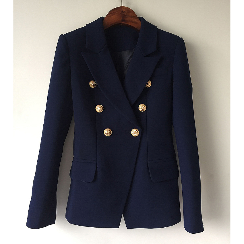HIGH QUALITY New Fashion Runway Style Women's Gold Buttons Double Breasted Blazer Outerwear size S-XXL