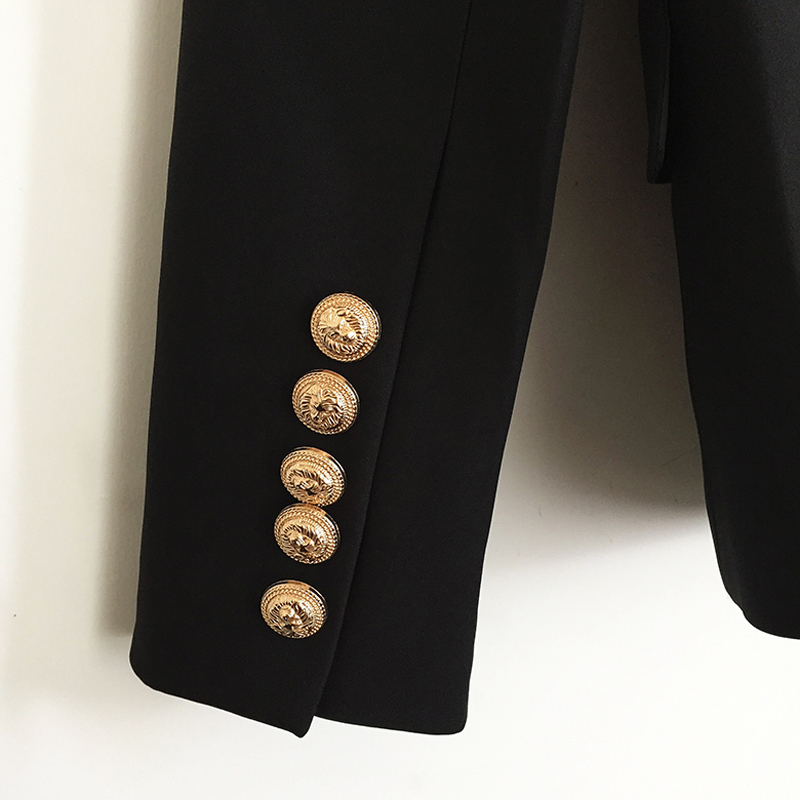 TOP QUALITY New Fashion Designer Blazer Jacket Women's Double Breasted Metal Lion Buttons Blazer Outer size S-XXL