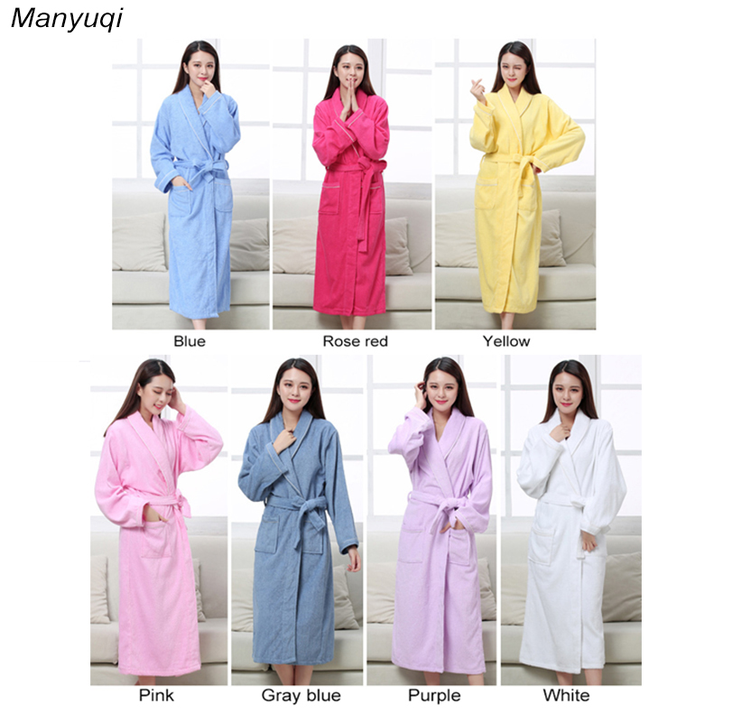 Autumn and winter 100% cotton thick women's towel bathrobes home wear terry bathrobe solid color long home robe for women