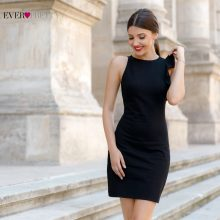 New Fashion Women Cocktail Dress Sexy Stretched Sleeve Ruffles Black Mini Cocktail Dresses