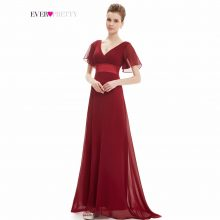 Evening Dresses Padded Trailing Flutter Sleeve Long Women Gown New Chiffon Summer Style Special Occasion Dresses