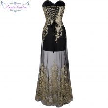 Angel-fashions Vintage 1920'S Strapless Embroidery See Through Lace up Long Evening Dress vestidos de noche Black