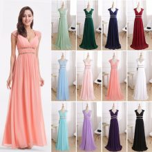 Formal Evening Dresses Long Ever Pretty Women Elegant Navy Blue White V neck Sleeveless Empire Evening Dresses