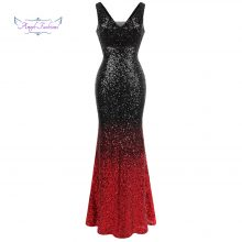 Angel-fashions Women's Gradient Evening Dresses Sequin V Neck Mermaid Contrast Color Party Gown Black Red