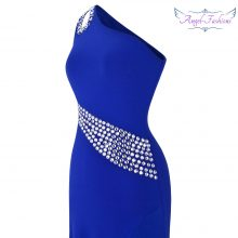 Angel-fashions One Shoulder Beading Split Hollow Out Long Evening Dress Blue