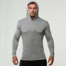 Fitness Thin Sweatshirt Male Sporting Slim Fit Streetwear Solid Pullover Hoodies