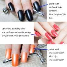 Nail Art Airbrush Kit with Air Compressor 12 Color Inks 20 Airbrushing Stencils Cleaning Brush Nail Tool Set