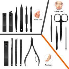 15 Pcs Black Stainless Steel Nail Clipper Cutter Trimmer Scissor Tweezer Knife Ear Pick Grooming Kit Manicure Pedicure Toe Tools