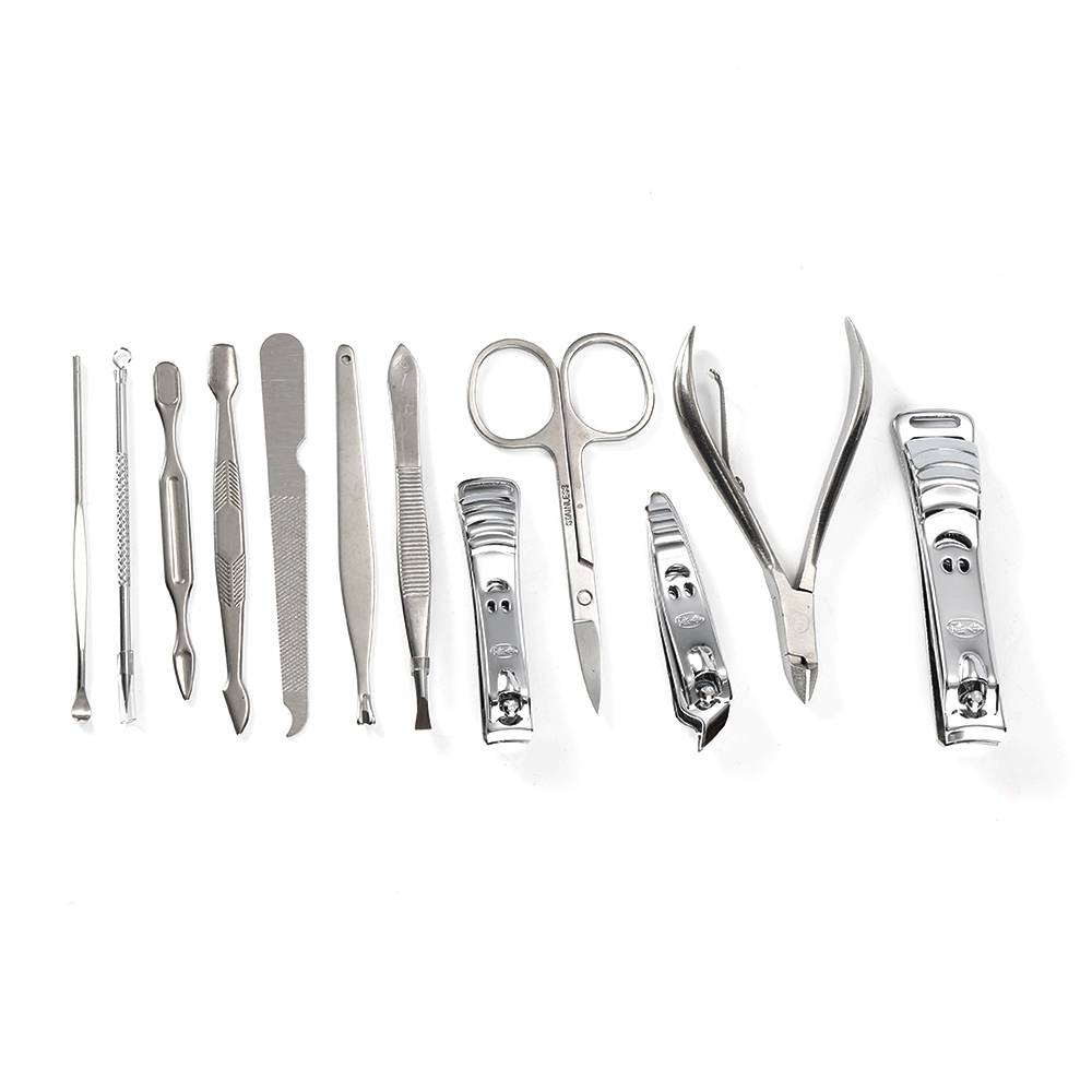 Stainless Steel Nail Care Tool Cutter Cuticle Pedicure Manicure Grooming Kit 12pcs
