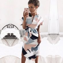 Women Midi Party Dresses Geometric Print Summer Boho Beach Dress Plus Size
