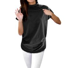 Women Turtleneck Short Sleeve Cotton Solid Casual Blouse Top T-Shirt Plus Size