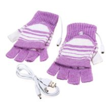 Electric USB heated Gloves Winter Thermal half-finger cover rechargeable