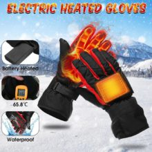 Outdoor Sport Winter Heated Ski Gloves Waterproof Electric Battery Carbon Fiber Hand Warm Heating Gloves