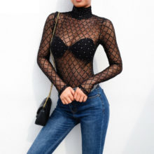 Sexy Women Turtleneck Black Bodysuit